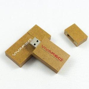 Chiavette USB in materiale riciclato ed ecologiche, forma rettangolare e personalizzate con logo