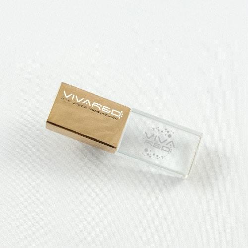 Chiavette USB in acciaio dorato e vetro con incisione interna personalizzata