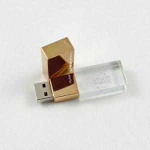 Chiavi USB in acciaio dorato e vetro con incisione interna personalizzata