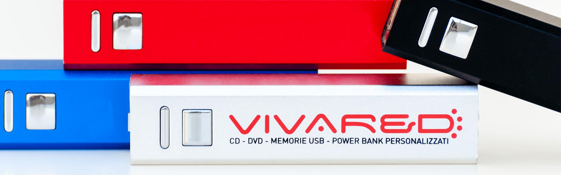 T-701 power banks colorati in metallo e batteria da 2000 a 3000 mAh / Vivared.it Chiavi USB - Power Banks - Lanyards - Borracce - Prodotti promozionali personalizzati